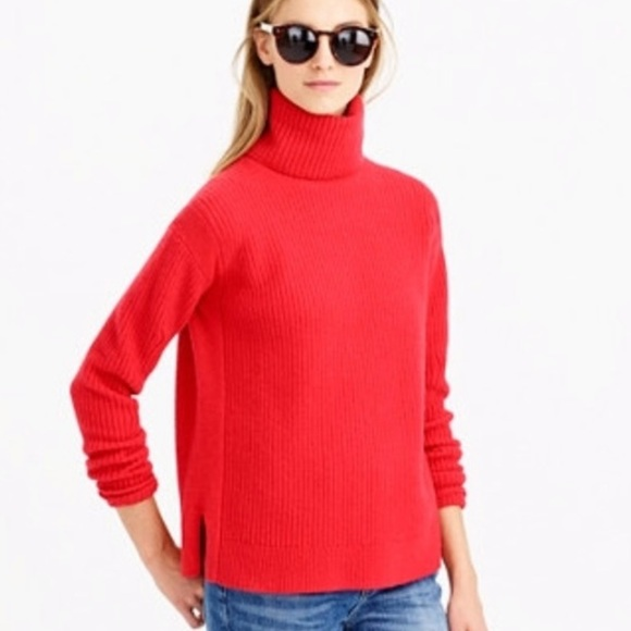 J. Crew Sweaters - J crew Red Chunky wool blend Turtle neck Sweater